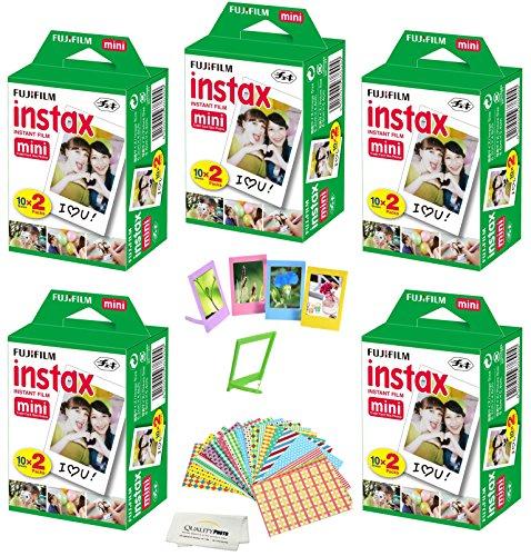 Fujifilm Instax Mini Instant Film, (10 Pack = 100 Sheets) For Fujifilm Mini 9 or Mini 8 Camera + 5 Colored Frames + 20 Assorted Colorful Sticker Frames + Microfiber cloth by Quality Photo
