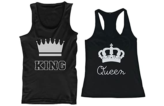 30717359237918 Amazon.com  His and Hers Matching Couple Tank Tops - King and Queen   Clothing