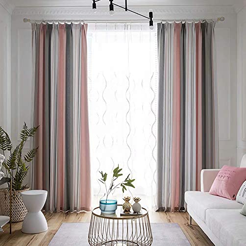 MacoHome Pink Sea Breeze Linen Curtain Stripe Decorative Patio Curtains Privacy Grommet Top Window Panel