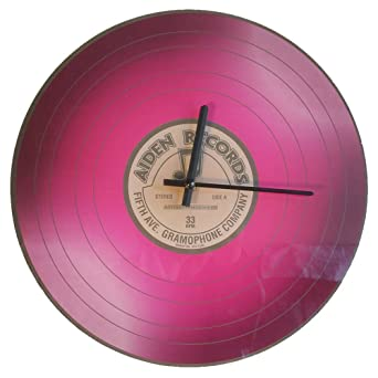 1 x vinilo Reloj de pared Tocadiscos LP de cristal Lila Aiden ...