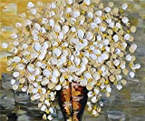100% Hand Painted Oil Paintings Modern Canvas Art Abstract Oil Painting White Flowers Home Wall Decor (20X24 Inch, Canvas 6)