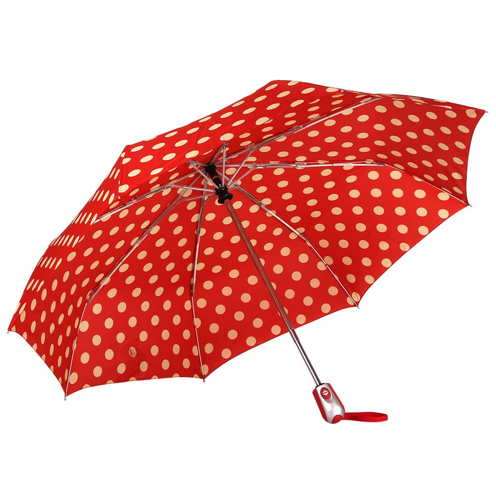 Mook Cute Polka Dots Tri-fold Travel Umbrella Light Weight Portable Umbrellas for Women Ltd