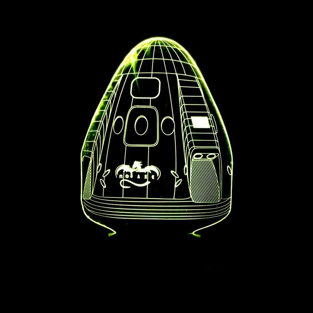 Luz de noche de 3D Cápsula espacial Lámpara de ilusión 3D Multicolor con control remoto para sala de estar Bar Habitación Juguetes de regalo Regalo perfectos para niño