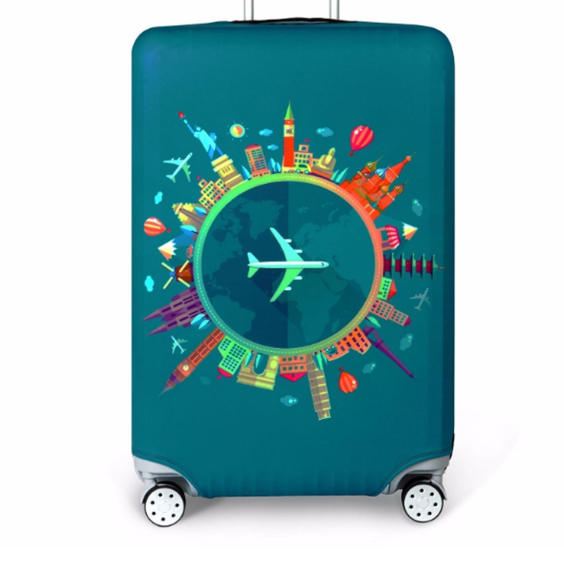 Bestja Washable Travel Luggage Cover Elastic Suitcase Trolley Protector Cover for 18-32 Inch Luggage (Travel, M)