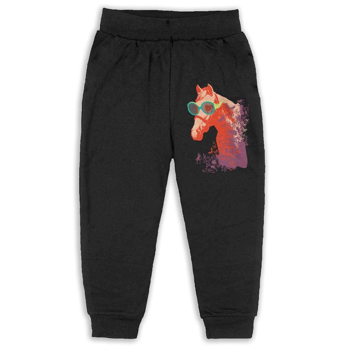 Uyikuvt Sweatpants Funny Sunglass Horse Pattern Cotton Toddler Active Jogger Full-Length Regular Size Pants Kids