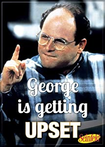 """Ata-Boy Seinfeld 'George is Getting Upset' 2.5"""" x 3.5"""" Magnet for Refrigerators and Lockers,Black"""