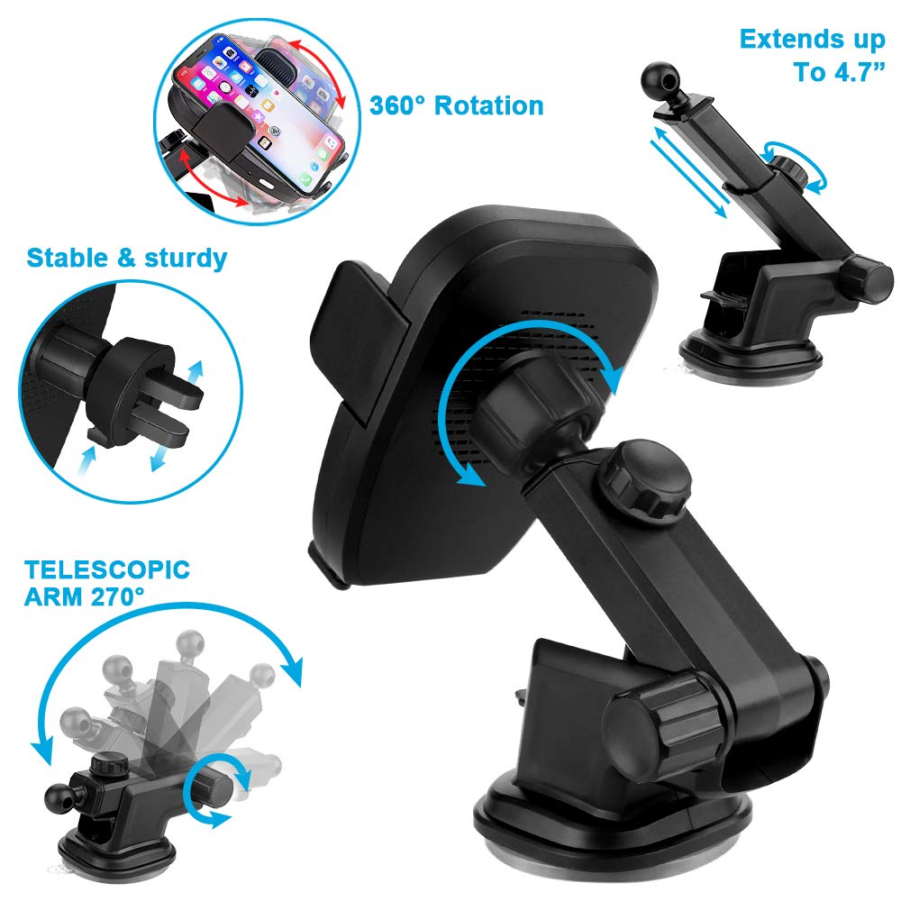 WirFie Fast Infrared Car Mount Wireless Charger 10W Qi Wireless Charger Phone Holder Compatible for iPhone Xs//XR//X //8 Samsung Galaxy S9 S8 S8 S7 S7edge S6 All Qi Devices. Wireless Car Charger