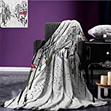 Paris picnic blanket Old French Pedestrians Stores Trees and the Silhouette of Eifffel Urban Illustration soft throw blanket Multicolor size:51''x31.5''