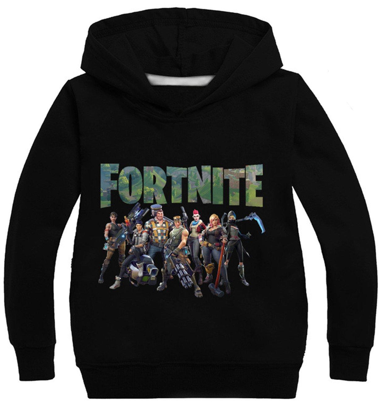 SERAPHY Fortnite Hoodies Teen Jumpers Wonderful Gifts for Boys 58-Black 160