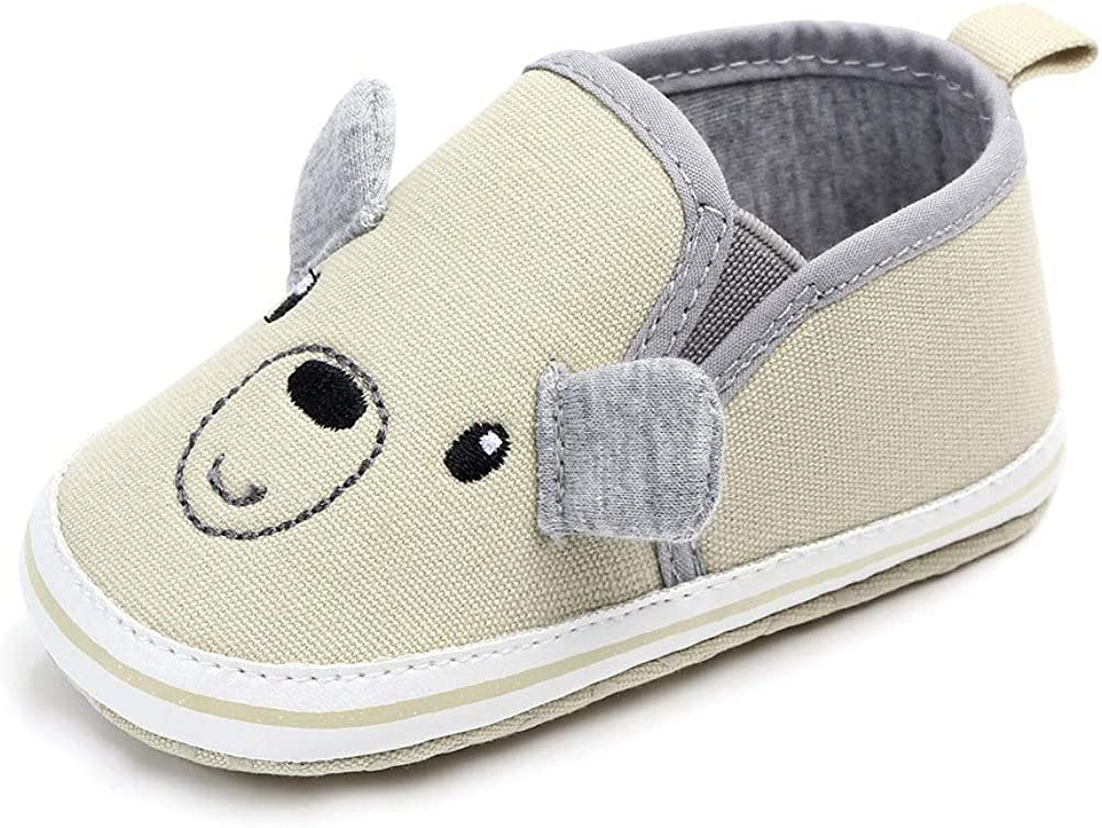 Baby Boy Girl Cute Cartoon Canvas Toddler Sneaker Anti-Slip Good Shoes Accompanying Baby to Take The First Step of Life 0-18 Months