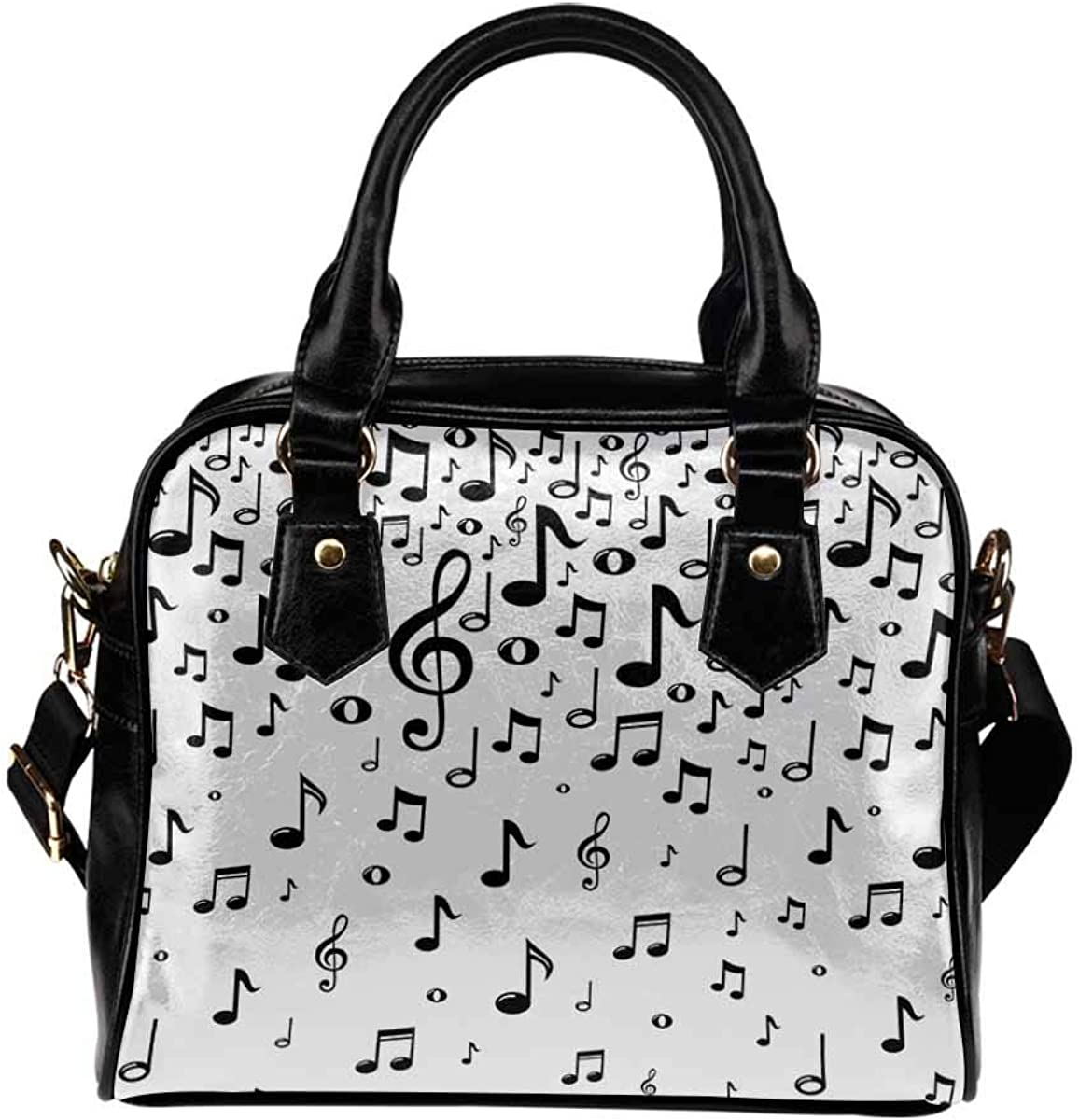 InterestPrint Black Music Notes Womens Top Handle PU Leather Shoulder Satchel Bag