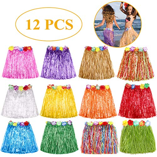 Grass Skirt Hawaiian Luau Hula Skirts Party Decorations Favors Supplies Multicolor Grass skirts for kids Elastic Hibiscus Flowers Tropical Hula Skirt for Party, Birthdays, Celebration 12 ()