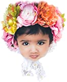 Baby Girls Floral Lace Bonnet Spring Handmade Infant Newborn Photography Prop 3D Flower Headpiece Hat 0 3 6 Mnth Sitter