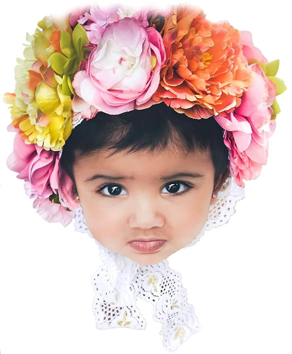 Amazon com baby girls floral lace bonnet spring handmade infant newborn photography prop 3d flower headpiece hat 0 3 6 mnth sitter clothing