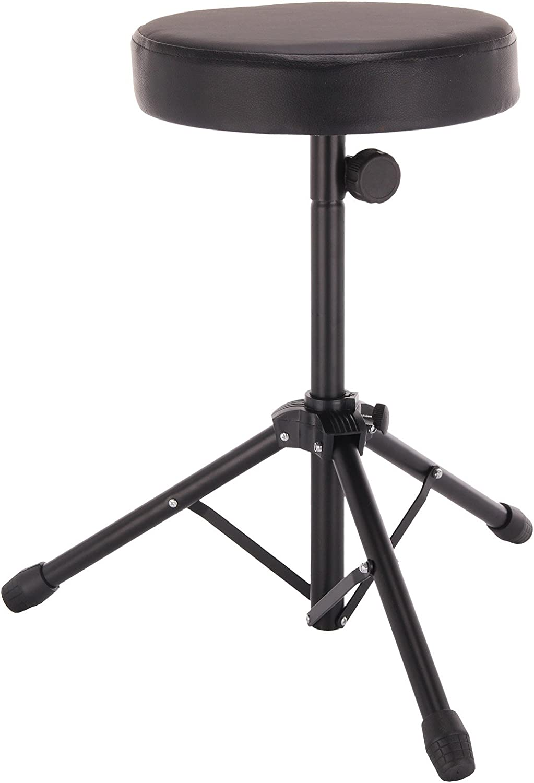 YORKING Durable Folding Music Guitar Keyboard Drum Stool Throne Piano Chair Padded Seat Black