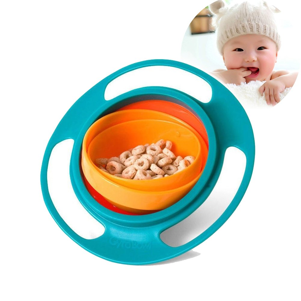 Baby Bowl Children Tableware Non Spill Bowl Toy Dishes Universal 360 Rotate Avoid Food Spilling Food Snacks Bowl Lunch Box Children Christmas Gifts (Green)