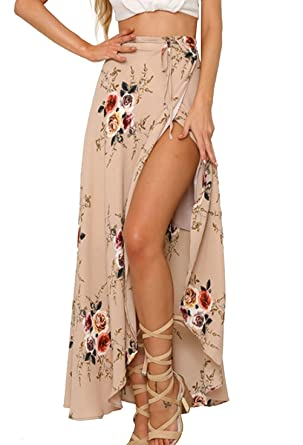 d349c916e9 Yonala Womens Boho Floral Tie Up Waist Summer Beach Wrap Cover Up Maxi Skirt  Apricot Small
