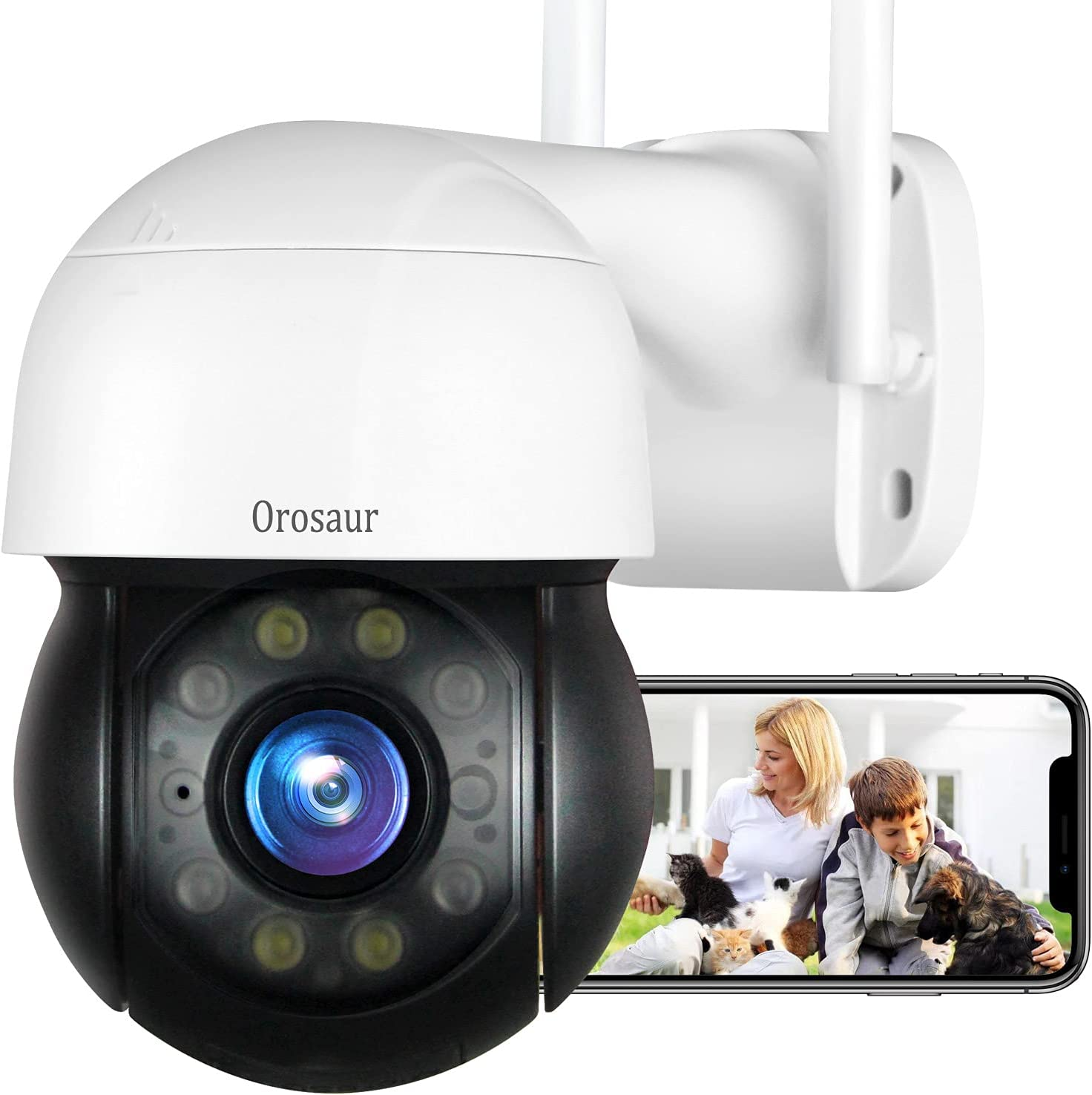 Security Camera Outdoor, OROSAUR Wireless WiFi Security Cameras for Home 1080P Bullet Surveillance Camera, PTZ, 360°View, Night Vision, Motion Detection, Cloud Storage, Work on Alexa,Google Home