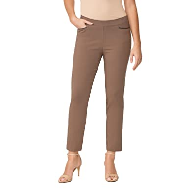 89th&Madison Millennium Stretch Leather Trim Tapered Ankle Pants Mocha at Women's Clothing store