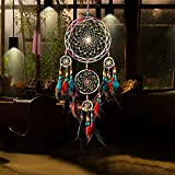 Jescrich Traditional Handicrafts Dream Catcher Hanging Feathers Ornament with 5 Rings(31'' Long)