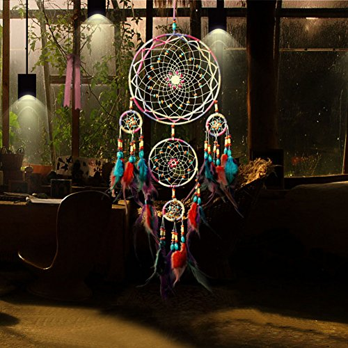 Jescrich Traditional Handicrafts Dream Catcher Hanging Feathers Ornament with 5 Rings(31