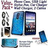 ~Value Pack~ for ZTE Grand X max 2 / Kirk / grandxmax2 Case Phone Case Shock Proof Edges Hybrid Hard Back Bumper Slim Cover (Blossom Blue)