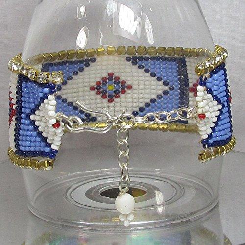 Handmade Blue RED White Bead Work Seed Beaded Bracelet B-14016