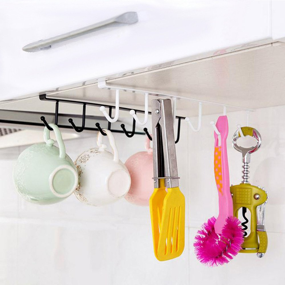 CapsA Cups Hooks Under Shelf Mugs Cup Storage Drying Rack Cabinet Hanging Organizer Rack for Ties and Belts