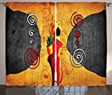 Ambesonne African Decorations Collection, Traditional African Woman Surrounded by Swirling Motifs Savannah Female Graphic Print, Living Room Bedroom Curtain 2 Panels Set, 108 X 90 Inches, Multi