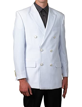 New Mens White Double Breasted Dinner Blazer Suit Jacket at Amazon ...