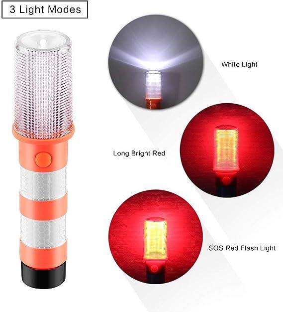 LED Rosso e Bianco con calamita Luce di Segnalazione a LED Rossa per Auto con 3 modalit/à di Pronto Soccorso segnalatore di Avvertimento 2 Pezzi