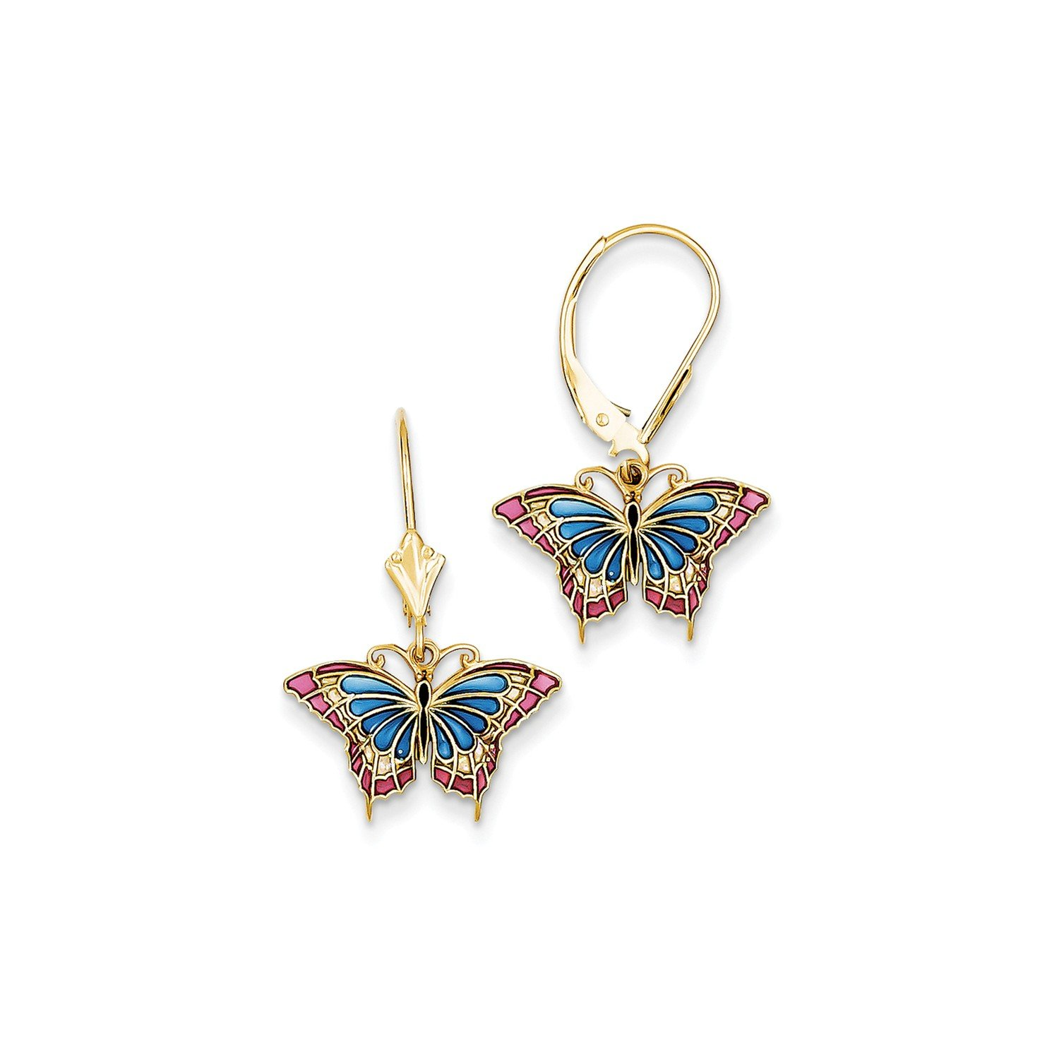 Roy Rose Jewelry 14K Yellow Gold Butterfly w/ Blue Stained Glass Leverback Earrings by Roy Rose Jewelry