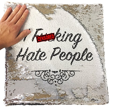 Price comparison product image I Fking Hate People Rude Funny Magic Cushion Cover - Silver Sequin