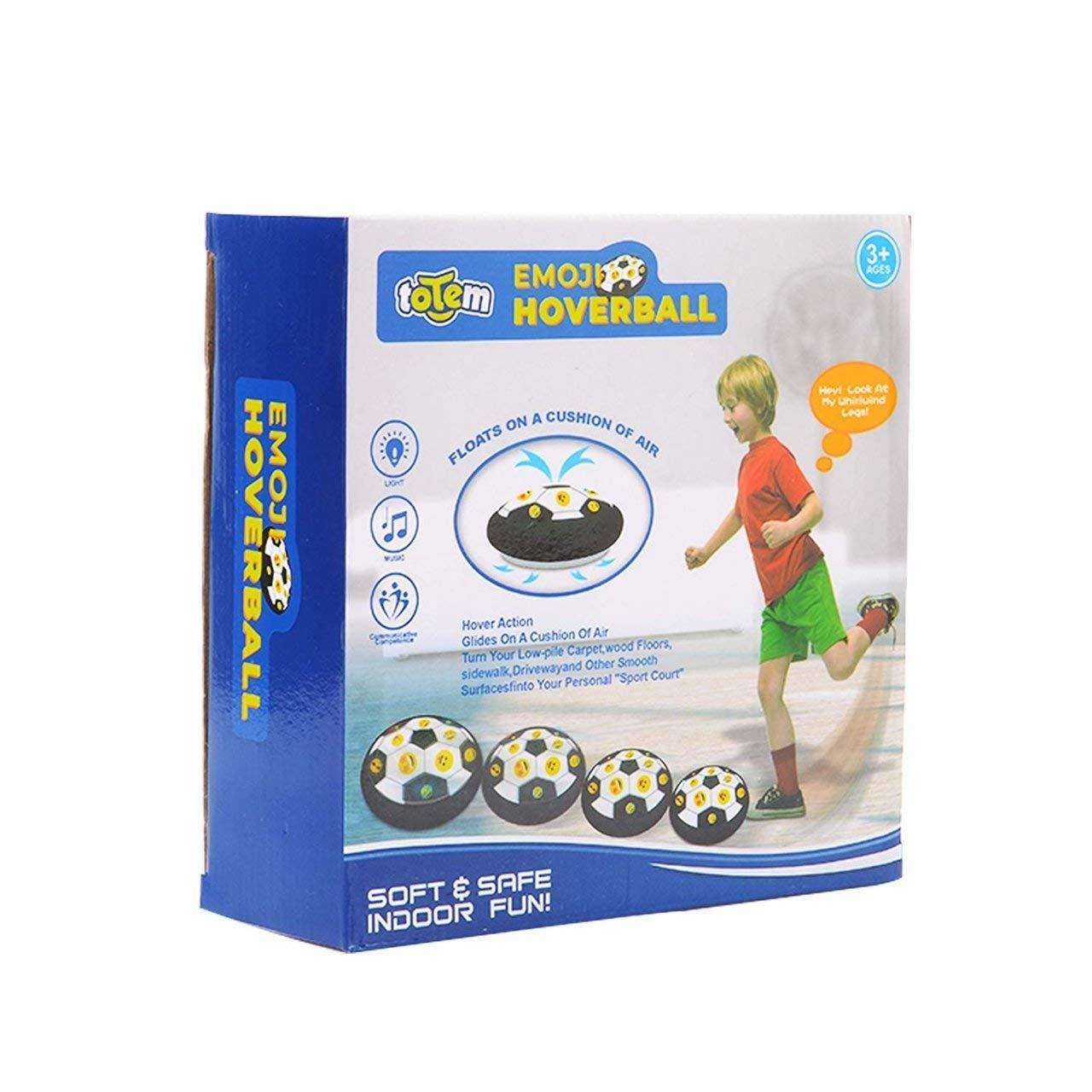 Totem World Emoji Hover Ball Toys for Boys Gifts Renewed Hover Soccer Ball Football Toy with LED Light and Foam Bumpers Indoor Outdoor Game Ideas for 5 6 7 8 11 Year Old Boy Girl Gift.