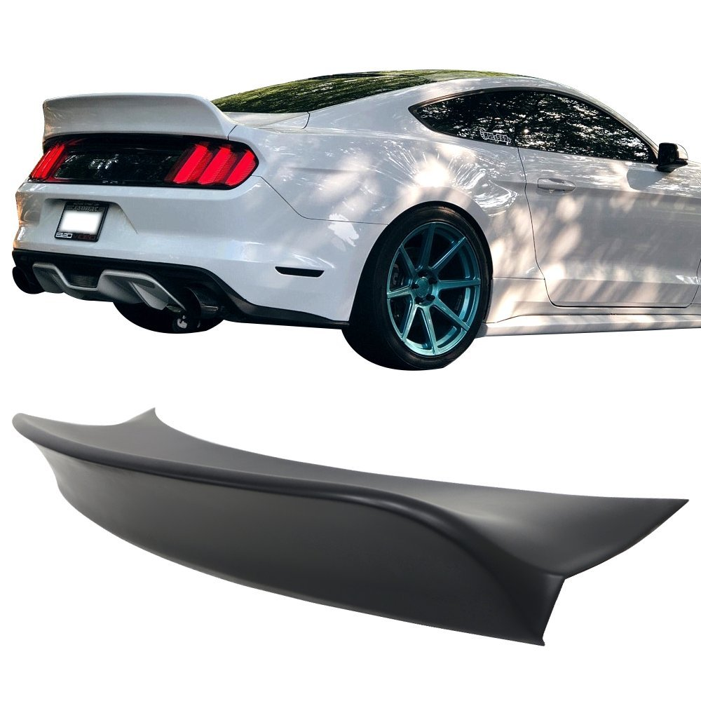 Amazon com trunk spoiler fits 2015 2019 ford mustang ikon style matte black pp duckbill rear tail lip deck boot wing by ikon motorsports 2016 2017