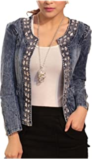 IWFREE Damen Jeansjacke Mantel Denim Jacke Mädchen Frauen Beiläufig  Stilvoll Distressed Gewaschene Lose Jeans Loch Jacket 7be47d721a