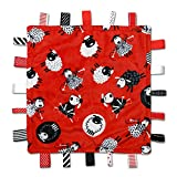 Sleepy Sheep Label Lovey - Black, White and Red - Baby Sensory, Security & Teething Closed Ribbon Tag Blanket