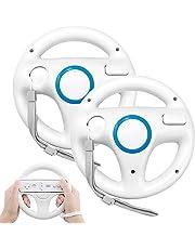 GEEKLIN 2 Stück Weiß Mario Kart Racing für Wii Lenkrad Kunststoff Spiel Fernbedienung Spielzubehör