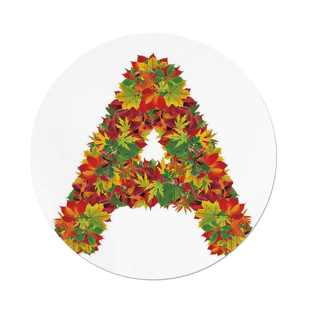 Polyester Round Tablecloth,Letter A,Autumn Themed Leaves Vivid Color Palette Fall Season Alphabet A Sign Decorative,Vermilion Yellow Green,Dining Room Kitchen Picnic Table Cloth Cover,for Outdoor Ind