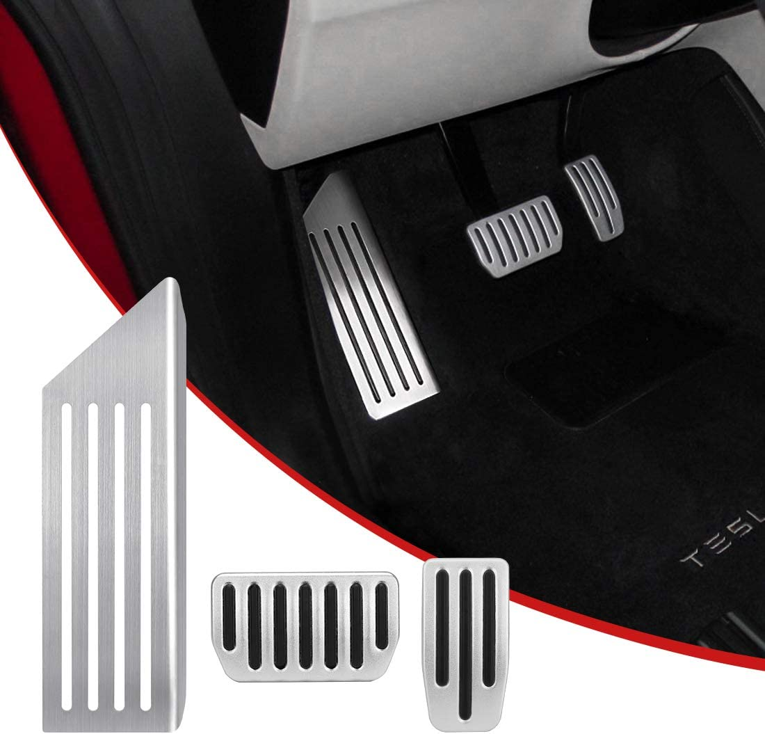 SUPAREE Model 3 Anti-Slip Foot Pedal Pads, Auto Aluminum Pedal Covers, Accelerator & Brake & Foot Rest Foot Pedal Pads+for Tesla Model 3 (A Set of 3)