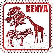 "Kenya Zebra Giraffe Travel Rubber Stamp Sticker Decal Design 5"" X 5"""