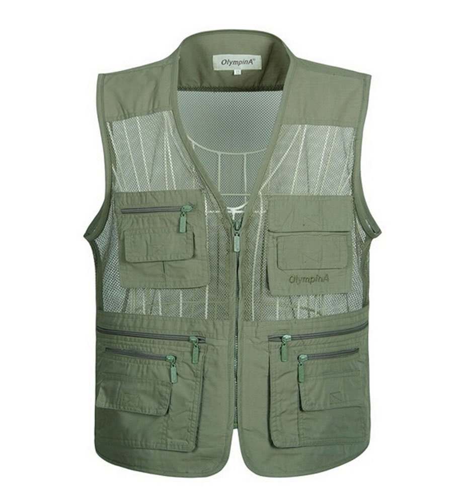 Summer Outdoor Mesh Middle-aged Men Fishing Vest Waistcoat ARMY GREEN, 4XL PANDA SUPERSTORE PS-SPO3258946011-ALAN02204