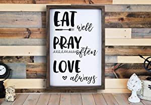 EricauBird Wood Framed Signs with Quotes Home Decor Inspirational Living Room Kitchen Black and White Wall Art Eat Pray Love, Wall Plaques Art, Rustic Signs with Sayings, 12x22