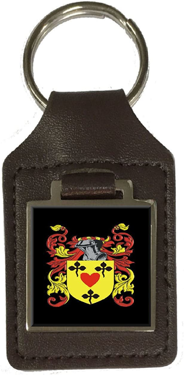 Paterson Family Crest Surname Coat Of Arms Brown Leather Keyring Engraved