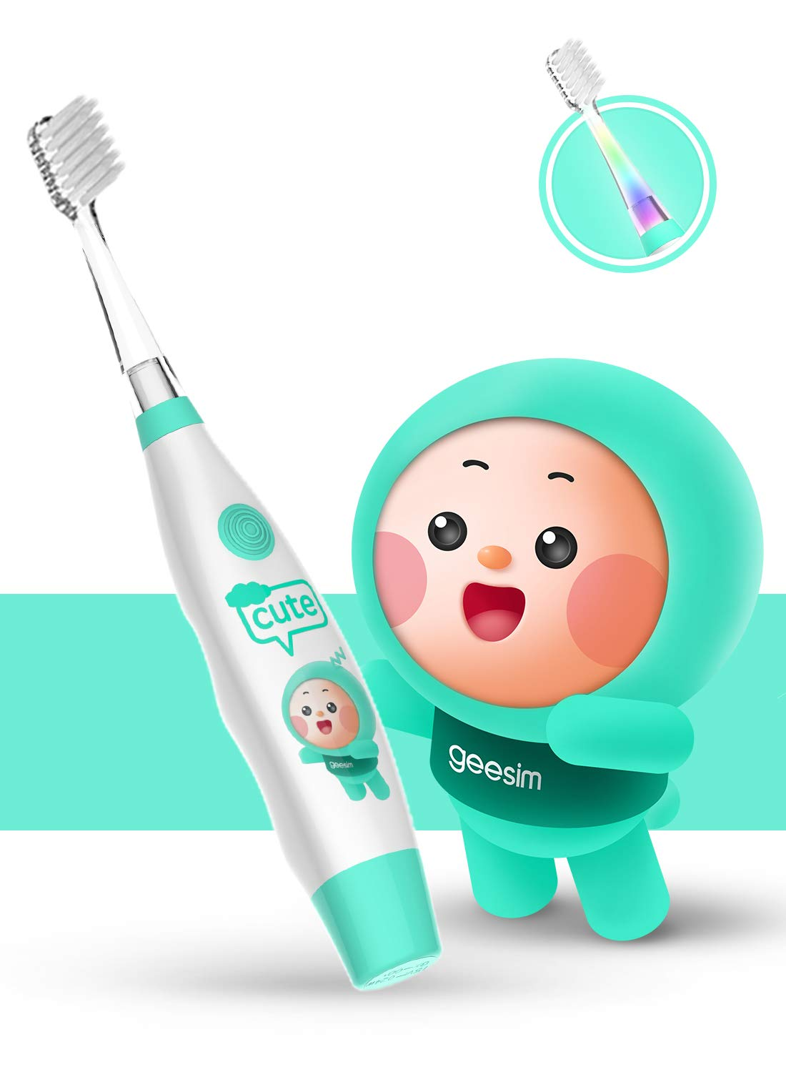 kids& Baby Toothbrush Electric Sonic Battery Powered With Smart Timer and Colorful LED, Baby &kids Electric Toothbrushes-Baby Sonic Toothbtush(BLUE)