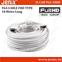 Jenix 10 MeterVGA Cable Male To Male 15 PIN Computer Monitor, Projector, PC, TV ,DVR