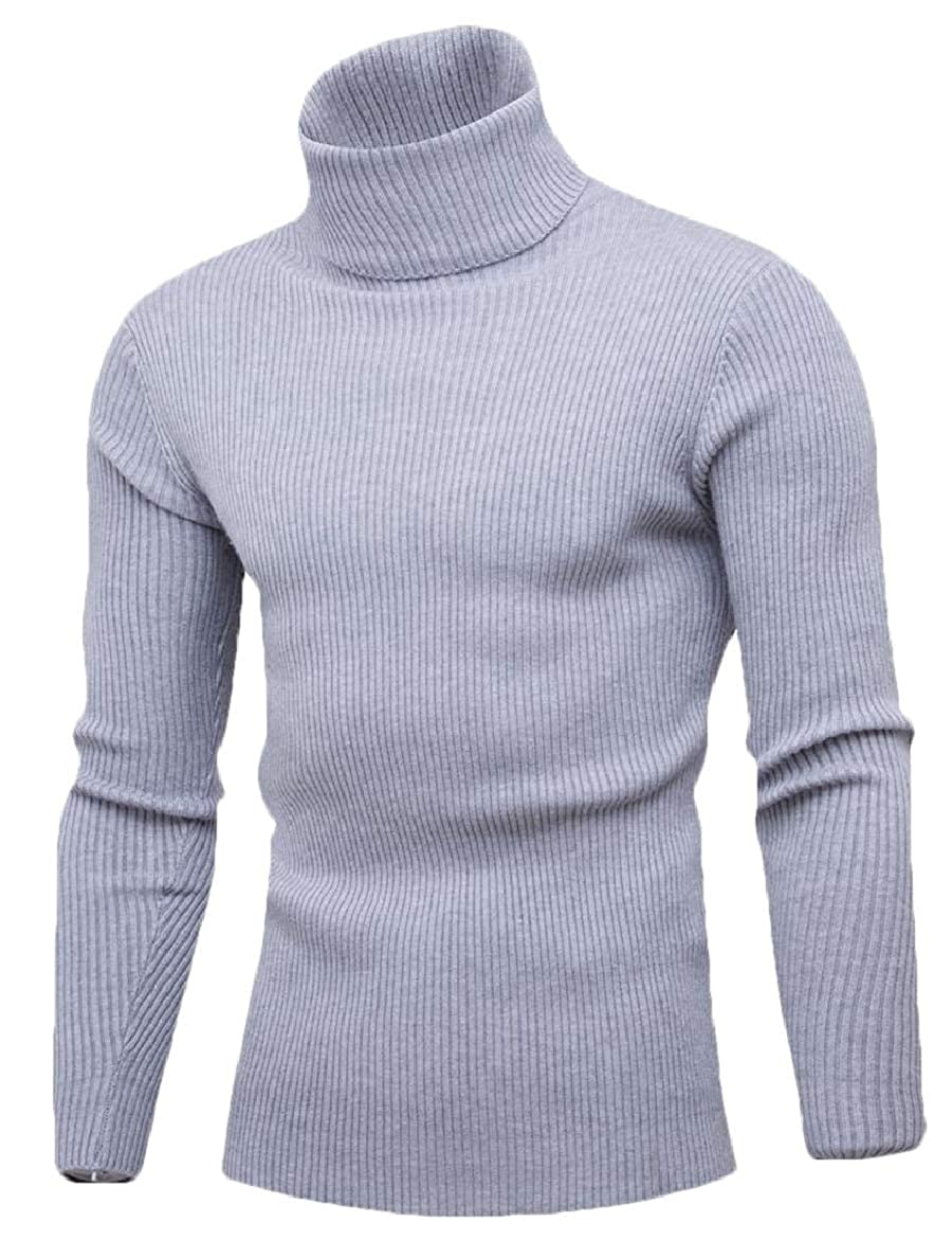 yibiyuan Mens Warm Turtleneck Knit Soild Long Sleeve Pullover Sweater