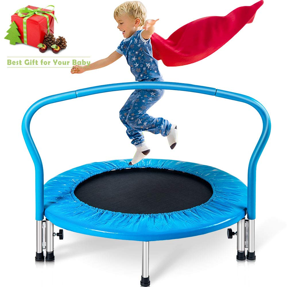 Merax 36'' Kid's Mini Exercise Trampoline Portable Trampoline with Handrail and Padded Cover (Blue2019)