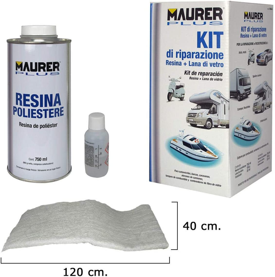 MAURER 14075025 Kit Reparación Resina Poliester 750 Ml Con Endurecedor y Fibra De Vidrio
