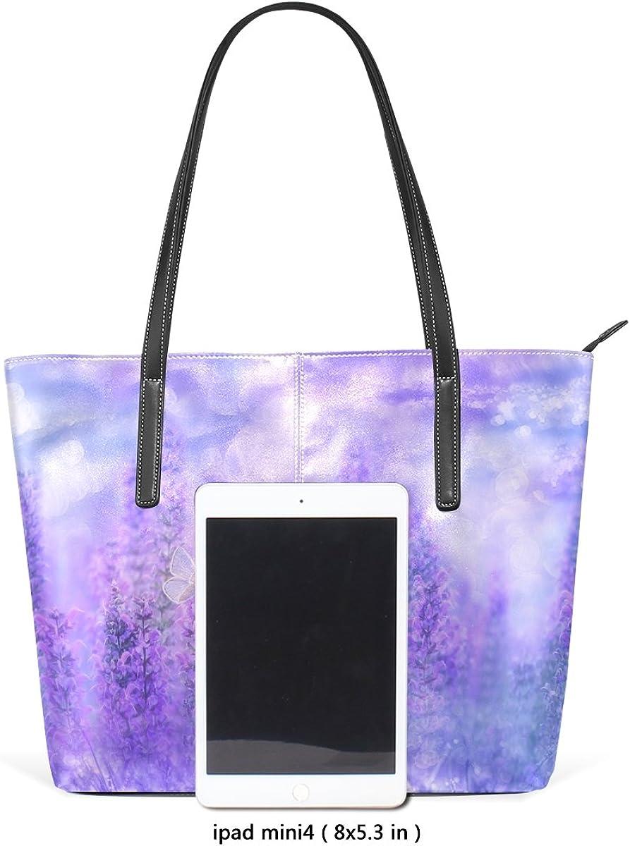 Ethel Ernest Violet Lavender Field Womens Purse PU Leather Shoulder Tote Bag